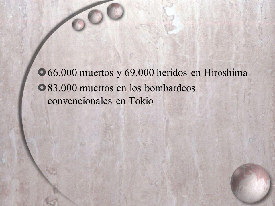 66.000 muertos y 69.000 heridos en Hiroshima 83.000 muertos en los bombardeos convencionales en Tokio