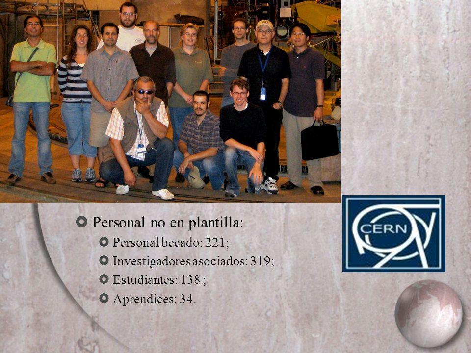 Personal no en plantilla: Personal becado: 221; Investigadores asociados: 319; Estudiantes: 138 ; Aprendices: 34.