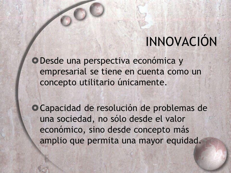 INNOVACIÓN Desde una perspectiva económica y empresarial se tiene en cuenta como un concepto utilitario únicamente. Capacidad de resolución de problem