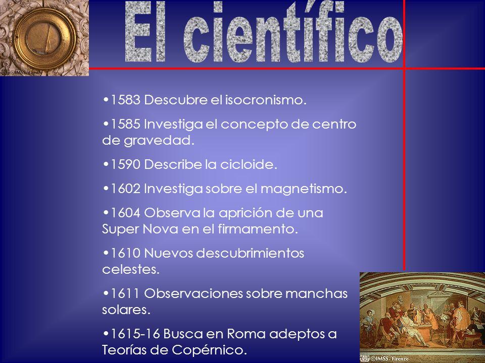 1583 Descubre el isocronismo.1585 Investiga el concepto de centro de gravedad.