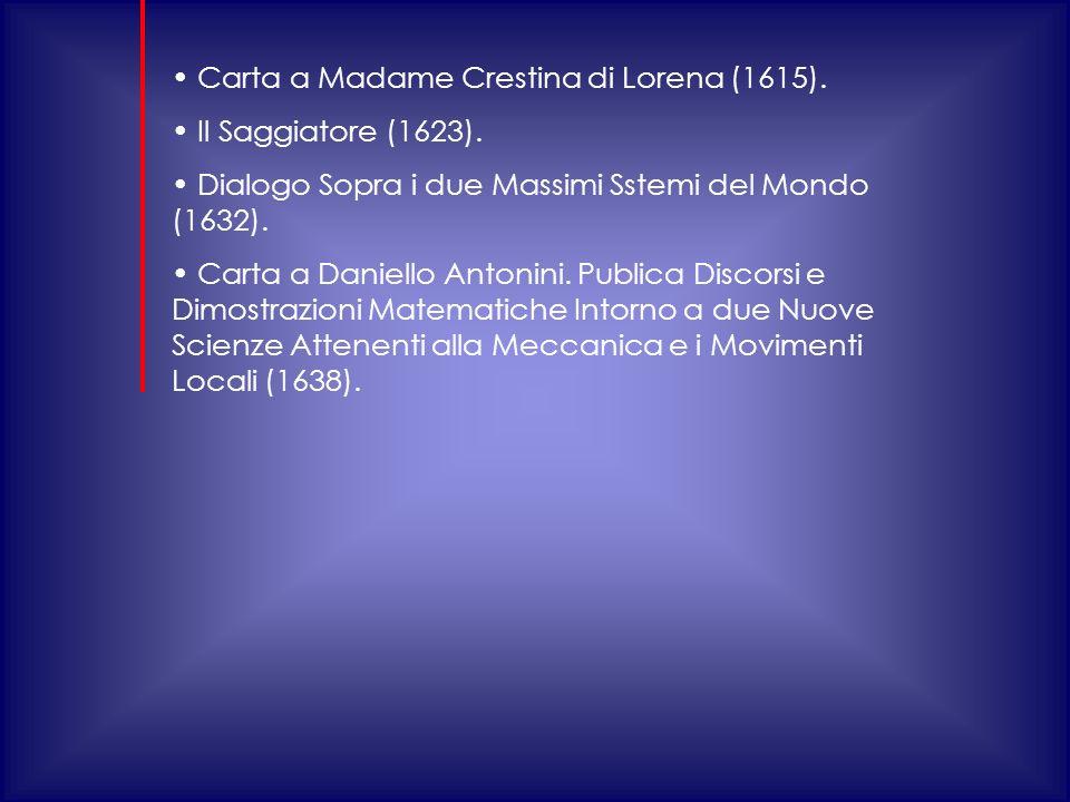 Carta a Madame Crestina di Lorena (1615).Il Saggiatore (1623).