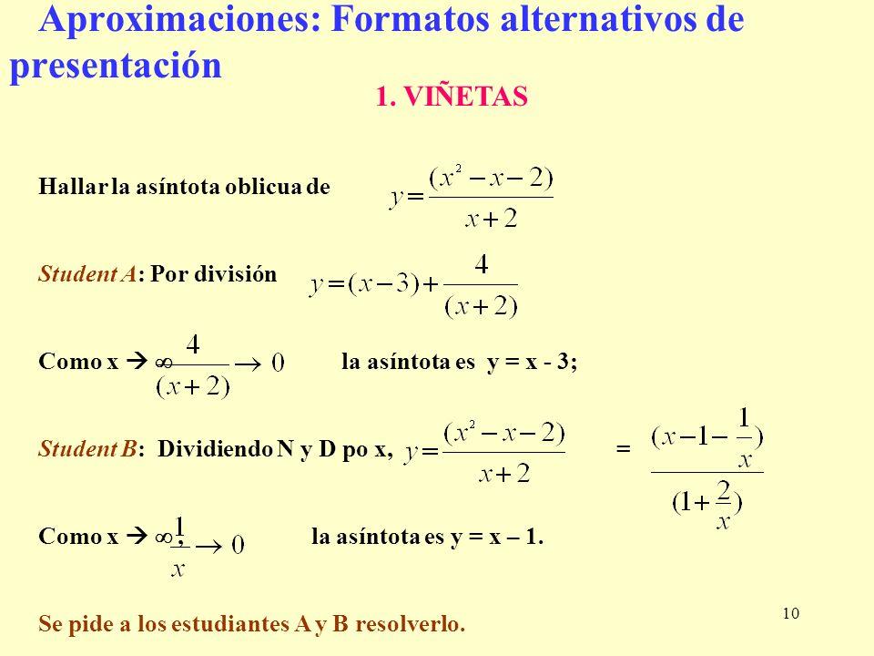 10 1. VIÑETAS Hallar la asíntota oblicua de Student A: Por división Como x la asíntota es y = x - 3; Student B: Dividiendo N y D po x, = Como x, la as
