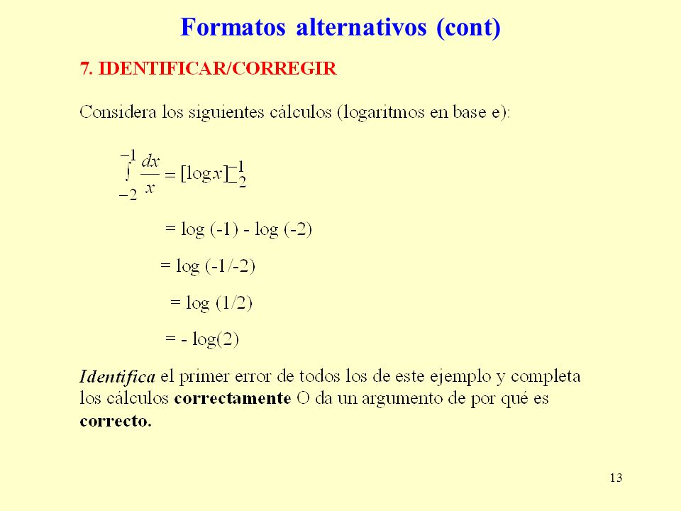 13 Formatos alternativos (cont)