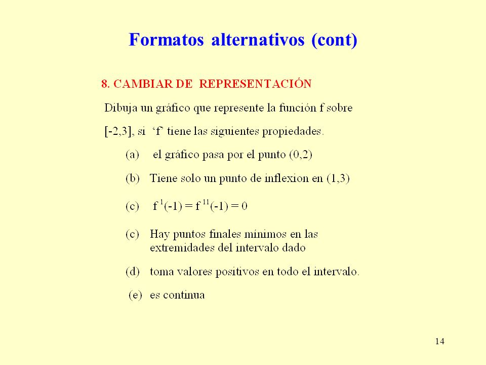 14 Formatos alternativos (cont)