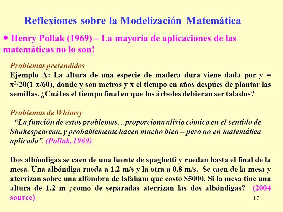 17 Reflexiones sobre la Modelización Matemática Henry Pollak (1969) – La mayoría de aplicaciones de las matemáticas no lo son! Problemas pretendidos E