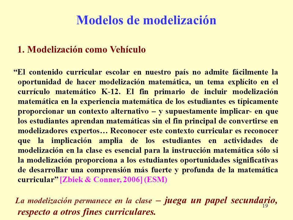 19 Modelos de modelización 1. Modelización como Vehículo El contenido curricular escolar en nuestro país no admite fácilmente la oportunidad de hacer
