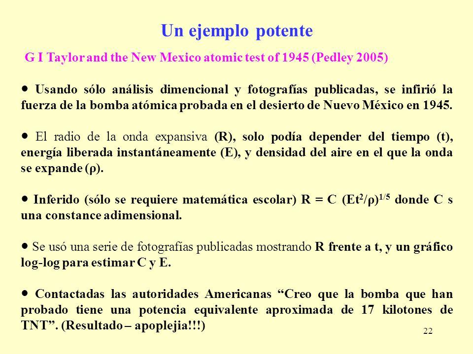 22 Un ejemplo potente G I Taylor and the New Mexico atomic test of 1945 (Pedley 2005) Usando sólo análisis dimencional y fotografías publicadas, se in