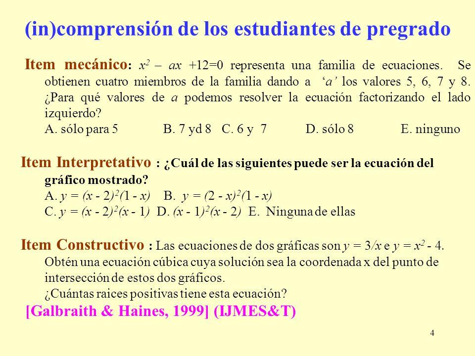 4 Item mecánico : x 2 – ax +12=0 representa una familia de ecuaciones. Se obtienen cuatro miembros de la familia dando a a los valores 5, 6, 7 y 8. ¿P