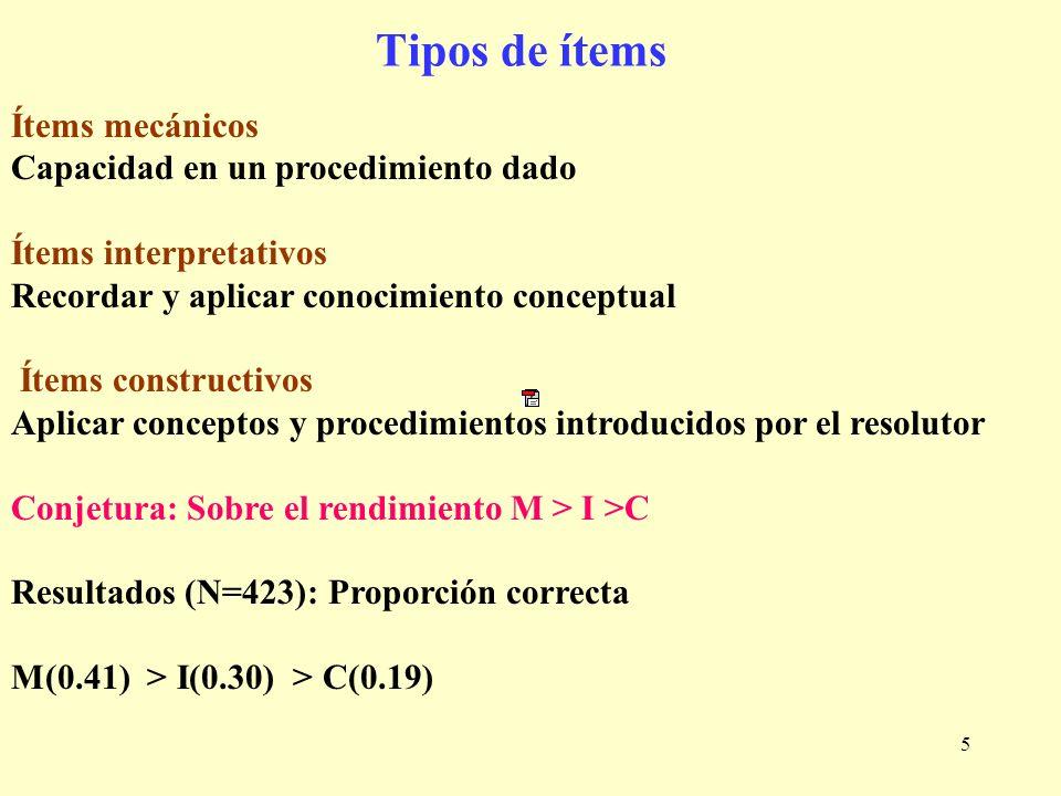 5 Ítems mecánicos Capacidad en un procedimiento dado Ítems interpretativos Recordar y aplicar conocimiento conceptual Ítems constructivos Aplicar conc