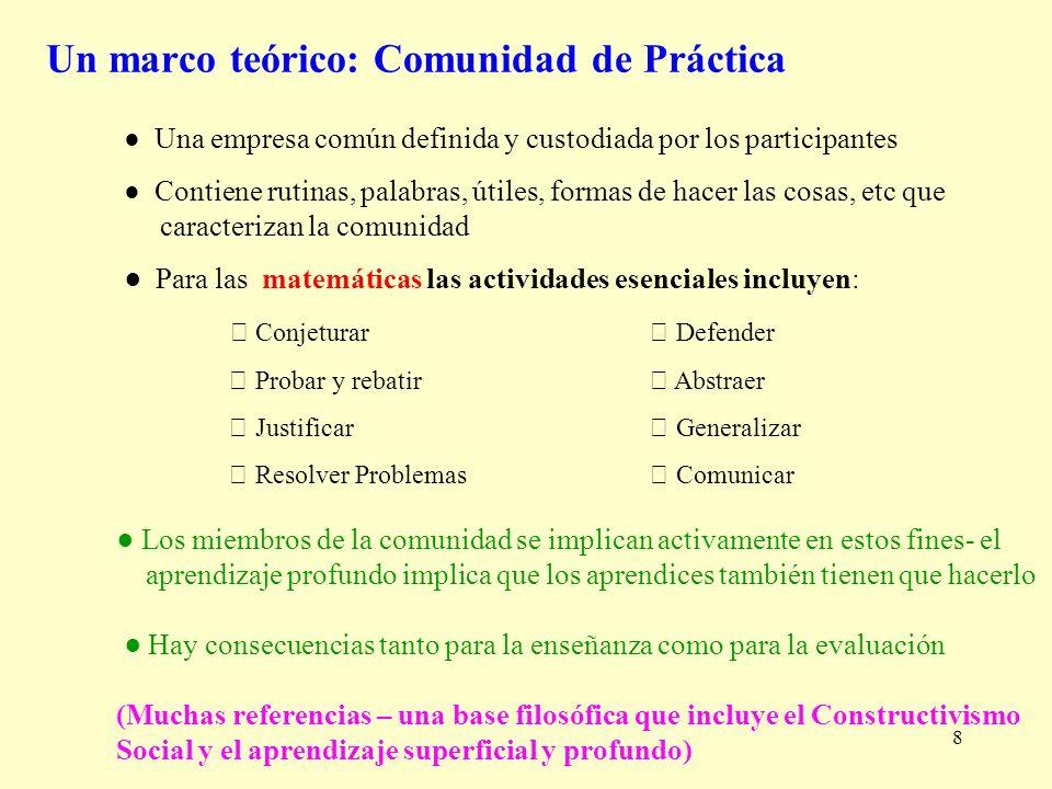 8 Un marco teórico: Comunidad de Práctica Una empresa común definida y custodiada por los participantes Contiene rutinas, palabras, útiles, formas de