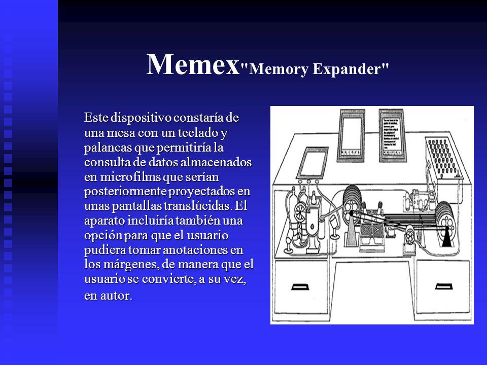Memex Memory Expander Este dispositivo constaría de una mesa con un teclado y palancas que permitiría la consulta de datos almacenados en microfilms que serían posteriormente proyectados en unas pantallas translúcidas.