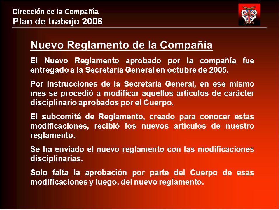 Nuevo Reglamento de la Compañía El Nuevo Reglamento aprobado por la compañía fue entregado a la Secretaría General en octubre de 2005.