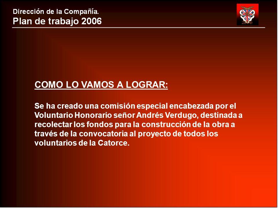 COMO LO VAMOS A LOGRAR: Se ha creado una comisión especial encabezada por el Voluntario Honorario señor Andrés Verdugo, destinada a recolectar los fondos para la construcción de la obra a través de la convocatoria al proyecto de todos los voluntarios de la Catorce.