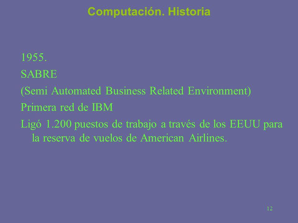 12 Computación. Historia 1955. SABRE (Semi Automated Business Related Environment) Primera red de IBM Ligó 1.200 puestos de trabajo a través de los EE