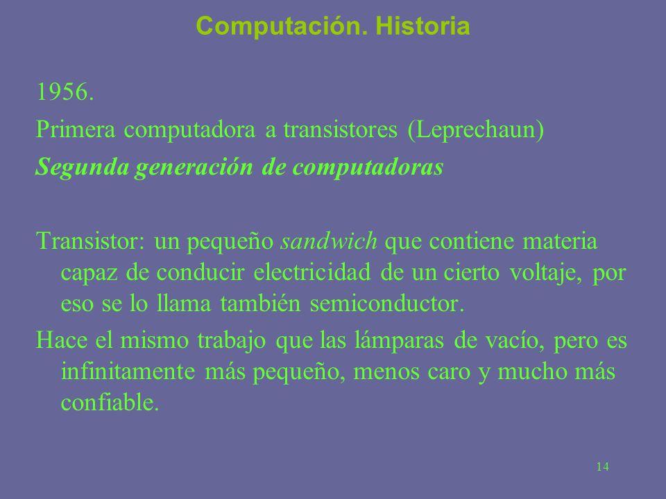 14 Computación. Historia 1956. Primera computadora a transistores (Leprechaun) Segunda generación de computadoras Transistor: un pequeño sandwich que