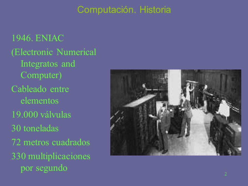 2 Computación. Historia 1946. ENIAC (Electronic Numerical Integratos and Computer) Cableado entre elementos 19.000 válvulas 30 toneladas 72 metros cua