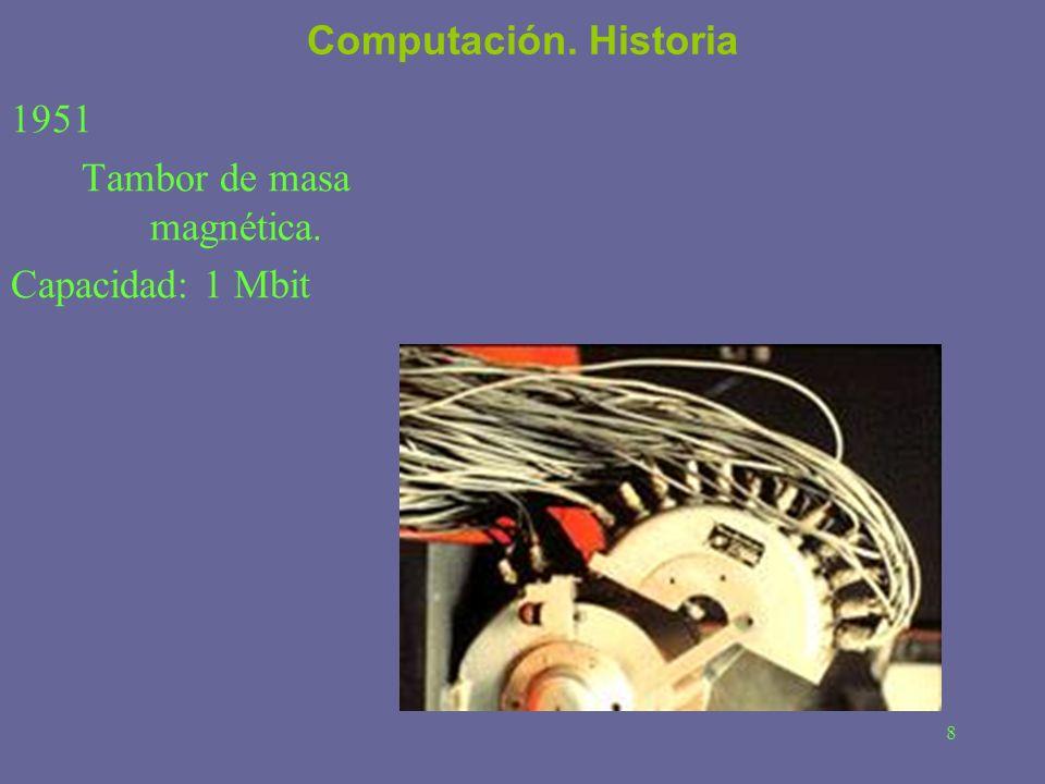 8 Computación. Historia 1951 Tambor de masa magnética. Capacidad: 1 Mbit