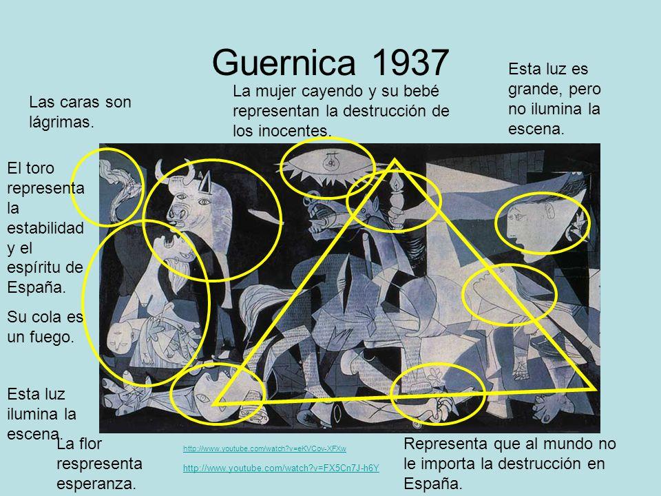 Guernica 1937 Las caras son lágrimas. http://www.youtube.com/watch?v=FX5Cn7J-h6Y La mujer cayendo y su bebé representan la destrucción de los inocente