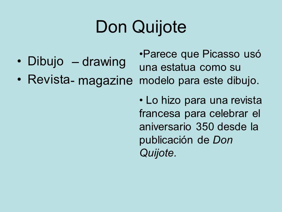 Don Quijote Dibujo Revista Parece que Picasso usó una estatua como su modelo para este dibujo. Lo hizo para una revista francesa para celebrar el aniv