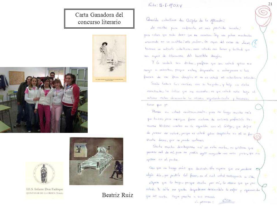 Carta Ganadora del concurso literario Beatriz Ruiz 21
