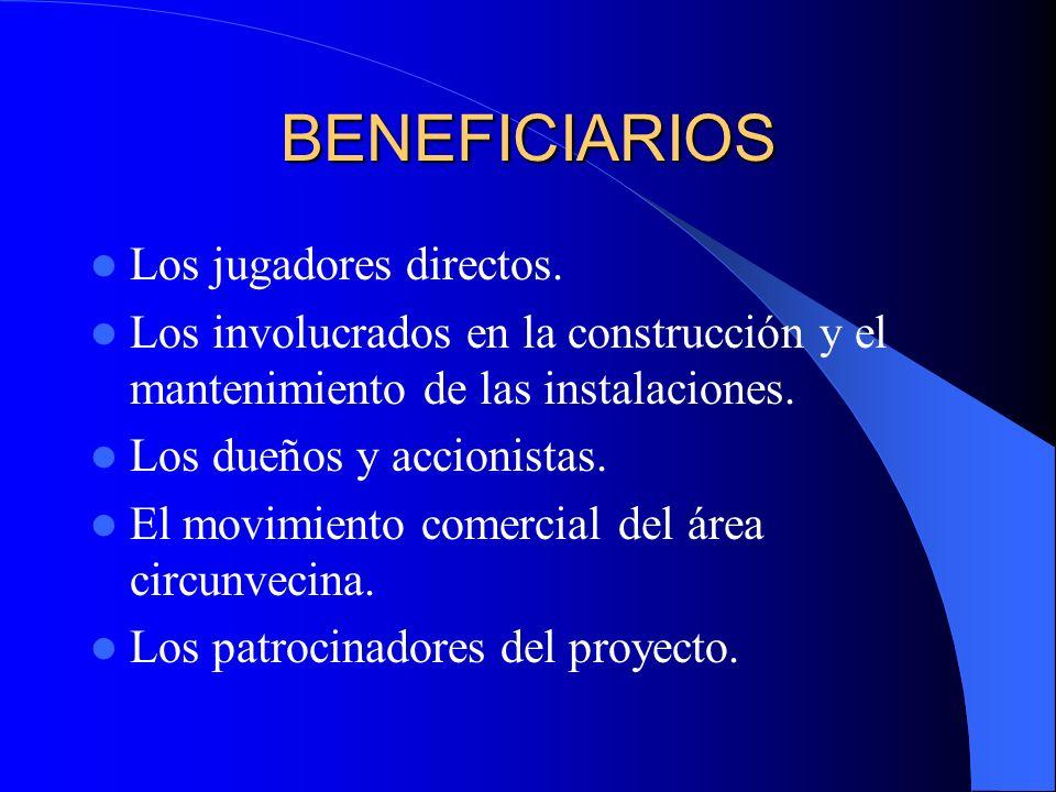 BENEFICIARIOS Los jugadores directos. Los involucrados en la construcción y el mantenimiento de las instalaciones. Los dueños y accionistas. El movimi