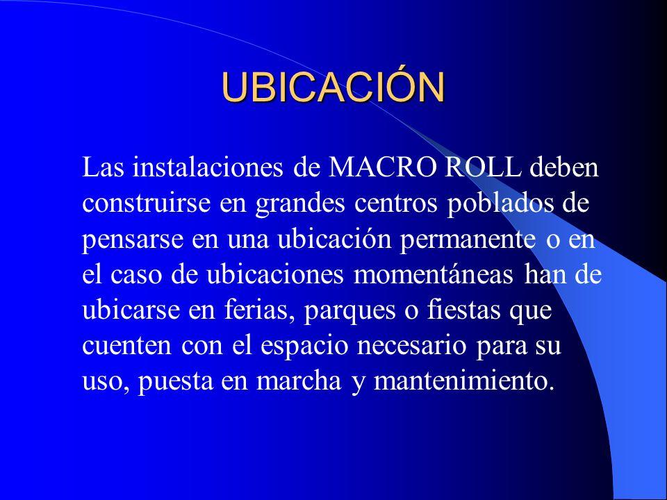 UBICACIÓN Las instalaciones de MACRO ROLL deben construirse en grandes centros poblados de pensarse en una ubicación permanente o en el caso de ubicac