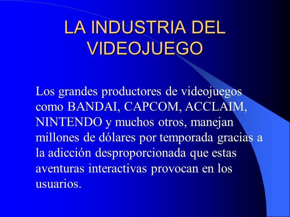 LA INDUSTRIA DEL VIDEOJUEGO Los grandes productores de videojuegos como BANDAI, CAPCOM, ACCLAIM, NINTENDO y muchos otros, manejan millones de dólares