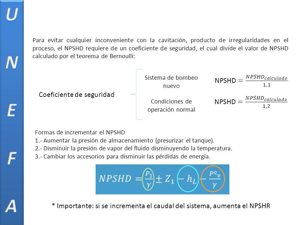 Coeficiente de seguridad Para evitar cualquier inconveniente con la cavitación, producto de irregularidades en el proceso, el NPSHD requiere de un coeficiente de seguridad, el cual divide el valor de NPSHD calculado por el teorema de Bernoulli: Sistema de bombeo nuevo Condiciones de operación normal Formas de incrementar el NPSHD 1.- Aumentar la presión de almacenamiento (presurizar el tanque).