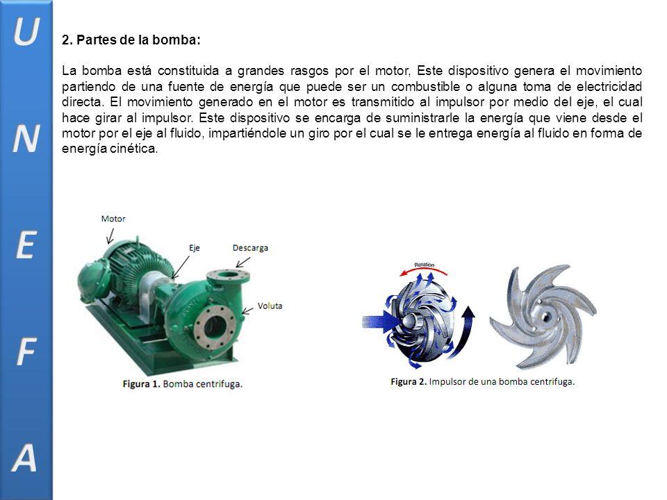 2. Partes de la bomba: La bomba está constituida a grandes rasgos por el motor, Este dispositivo genera el movimiento partiendo de una fuente de energ
