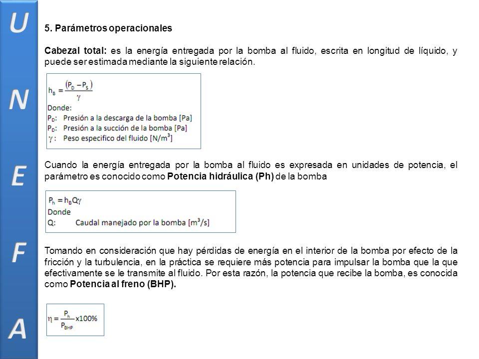 5. Parámetros operacionales Cabezal total: es la energía entregada por la bomba al fluido, escrita en longitud de líquido, y puede ser estimada median