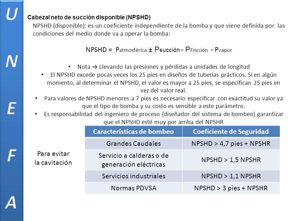 NPSHD (disponible): es un coeficiente independiente de la bomba y que viene definida por las condiciones del medio donde va a operar la bomba: NPSHD = P atmosférica ± P succión - P Fricción - P vapor Nota Llevando las presiones y pérdidas a unidades de longitud El NPSHD excede pocas veces los 25 pies en diseños de tuberías prácticos.