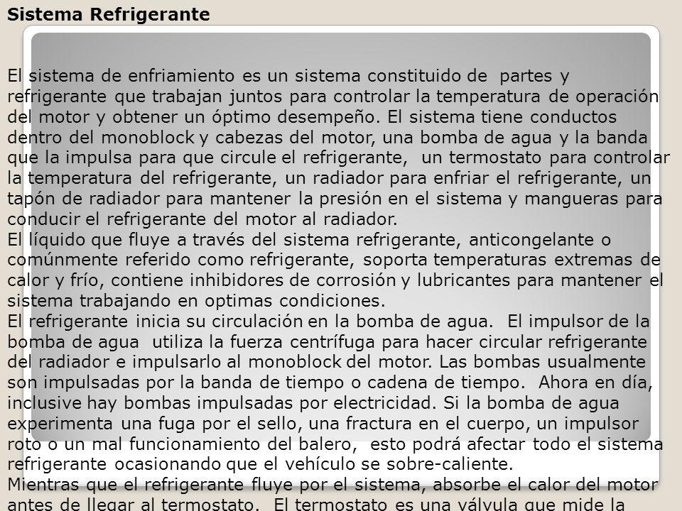 Sistema Refrigerante El sistema de enfriamiento es un sistema constituido de partes y refrigerante que trabajan juntos para controlar la temperatura de operación del motor y obtener un óptimo desempeño.