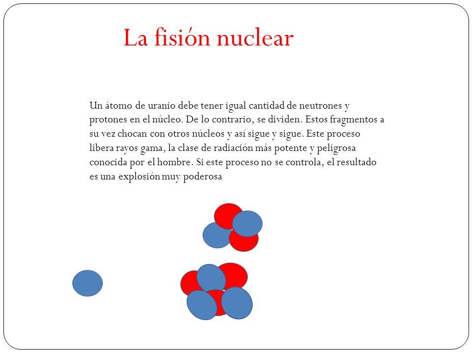 La fisión nuclear Un átomo de uranio debe tener igual cantidad de neutrones y protones en el núcleo.