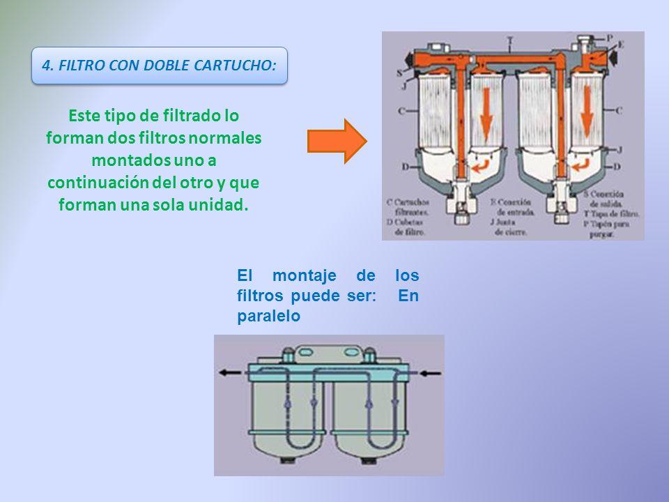 4. FILTRO CON DOBLE CARTUCHO: Este tipo de filtrado lo forman dos filtros normales montados uno a continuación del otro y que forman una sola unidad.