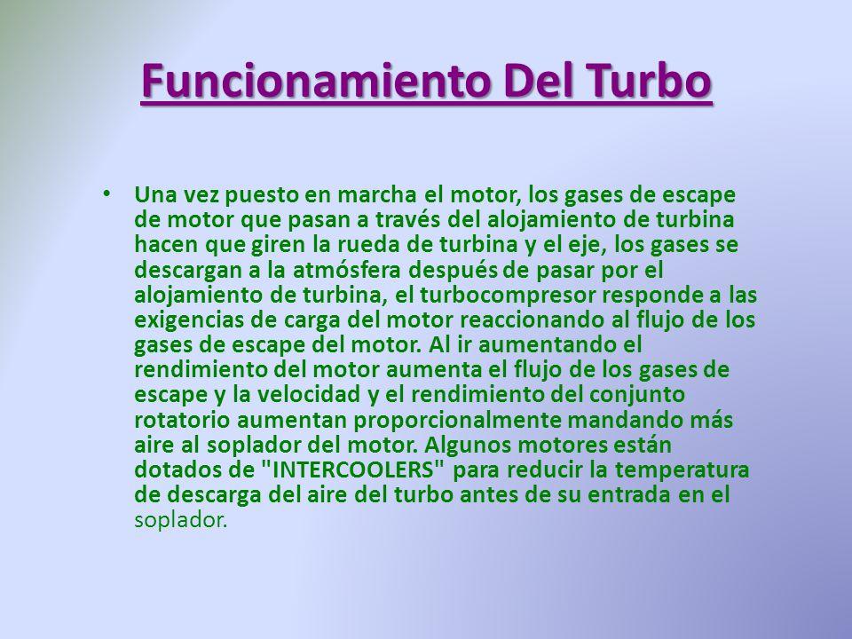 Funcionamiento Del Turbo Una vez puesto en marcha el motor, los gases de escape de motor que pasan a través del alojamiento de turbina hacen que giren
