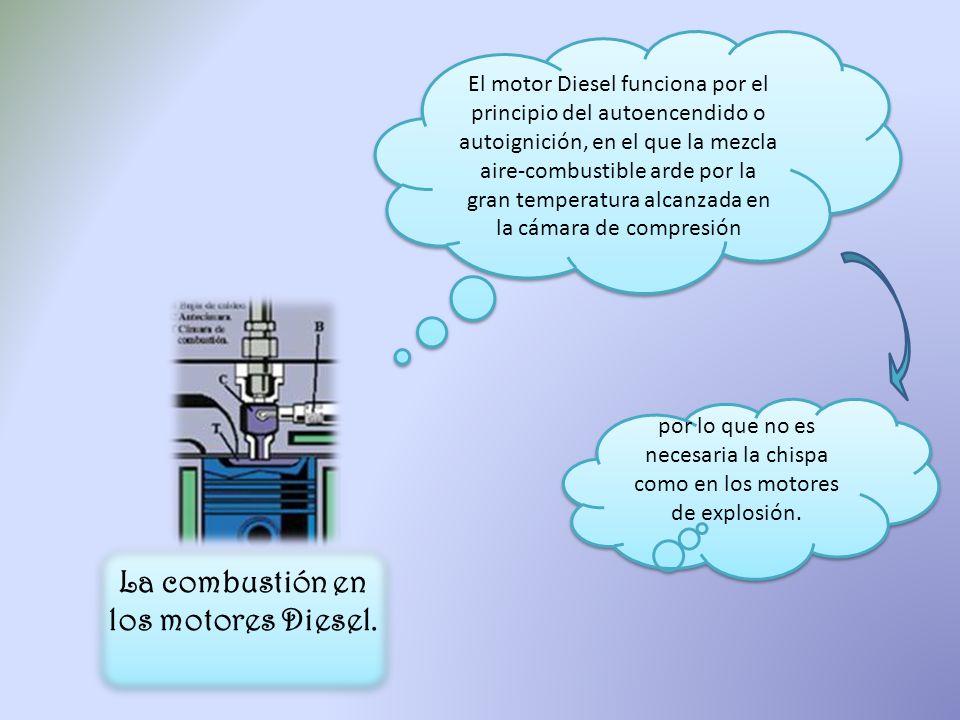 La combustión en los motores Diesel. El motor Diesel funciona por el principio del autoencendido o autoignición, en el que la mezcla aire-combustible