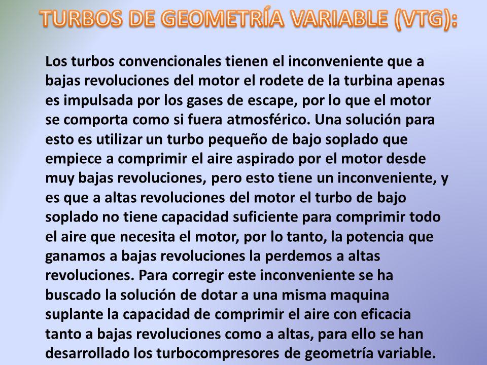 Los turbos convencionales tienen el inconveniente que a bajas revoluciones del motor el rodete de la turbina apenas es impulsada por los gases de esca