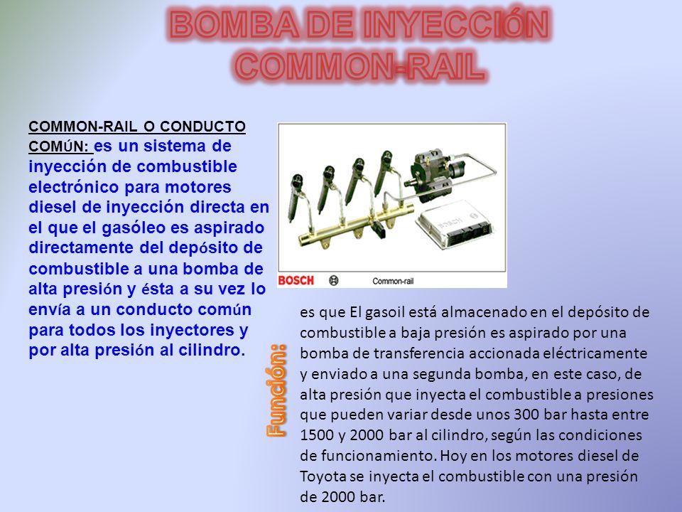 COMMON-RAIL O CONDUCTO COM Ú N: es un sistema de inyección de combustible electrónico para motores diesel de inyección directa en el que el gasóleo es