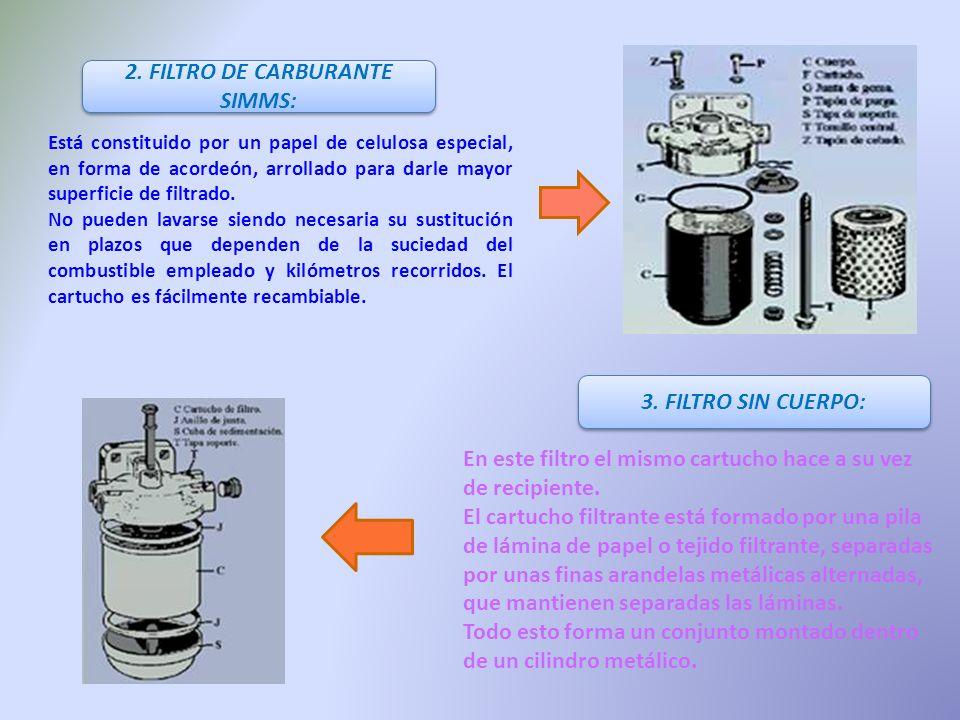 2. FILTRO DE CARBURANTE SIMMS: Está constituido por un papel de celulosa especial, en forma de acordeón, arrollado para darle mayor superficie de filt