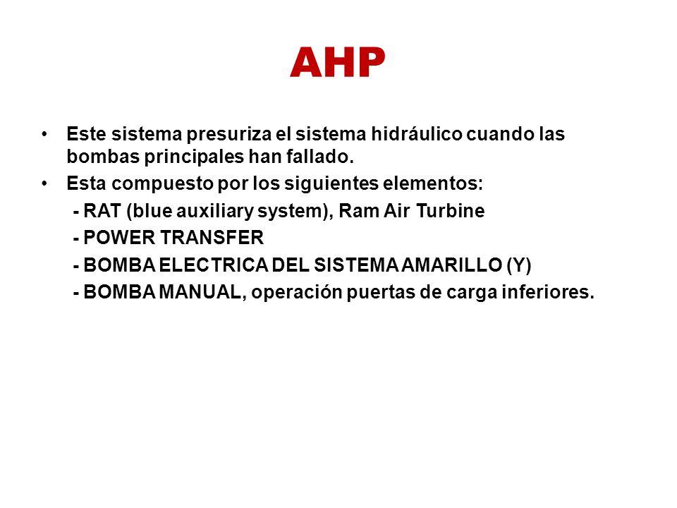 AHP Este sistema presuriza el sistema hidráulico cuando las bombas principales han fallado. Esta compuesto por los siguientes elementos: - RAT (blue a