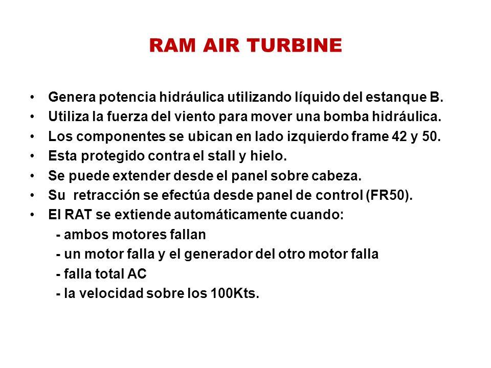 RAM AIR TURBINE Genera potencia hidráulica utilizando líquido del estanque B. Utiliza la fuerza del viento para mover una bomba hidráulica. Los compon