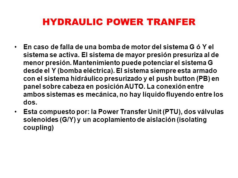 HYDRAULIC POWER TRANFER En caso de falla de una bomba de motor del sistema G ó Y el sistema se activa. El sistema de mayor presión presuriza al de men