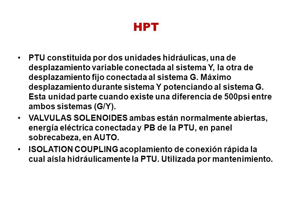 HPT PTU constituida por dos unidades hidráulicas, una de desplazamiento variable conectada al sistema Y, la otra de desplazamiento fijo conectada al s