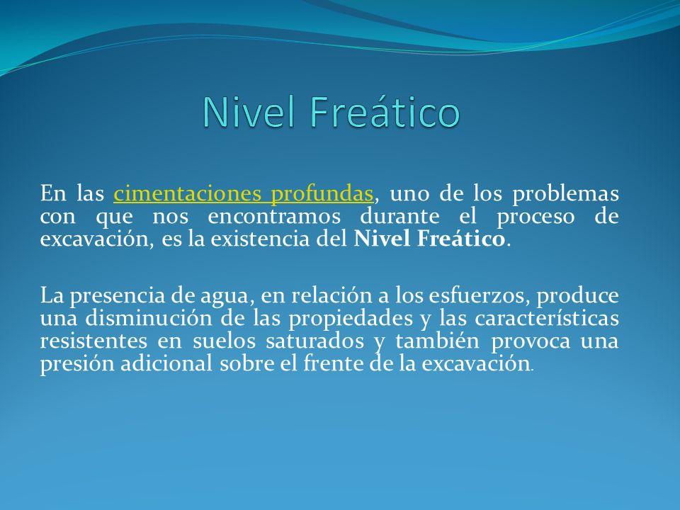 En las cimentaciones profundas, uno de los problemas con que nos encontramos durante el proceso de excavación, es la existencia del Nivel Freático.cim