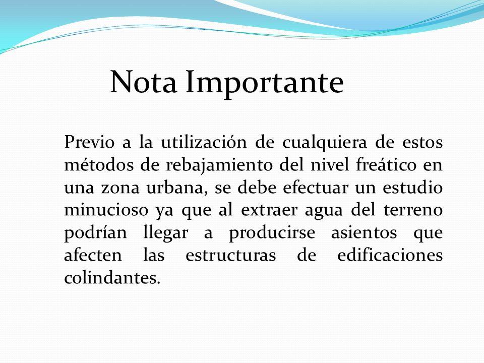 Nota Importante Previo a la utilización de cualquiera de estos métodos de rebajamiento del nivel freático en una zona urbana, se debe efectuar un estu
