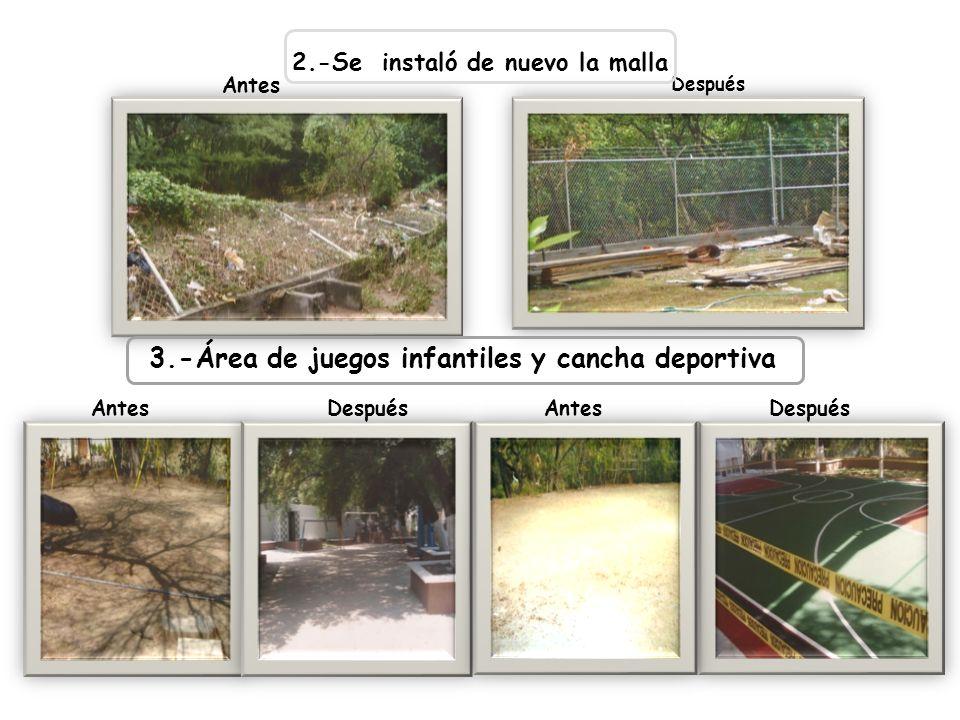 2.-Se instaló de nuevo la malla 3.-Área de juegos infantiles y cancha deportiva AntesDespuésAntesDespués Antes Después