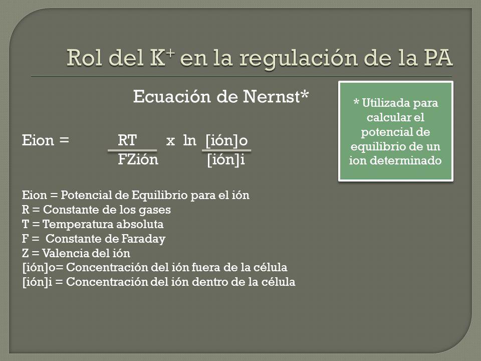 Eion = RTx ln [ión]o FZión [ión]i Eion = Potencial de Equilibrio para el ión R = Constante de los gases T = Temperatura absoluta F = Constante de Fara