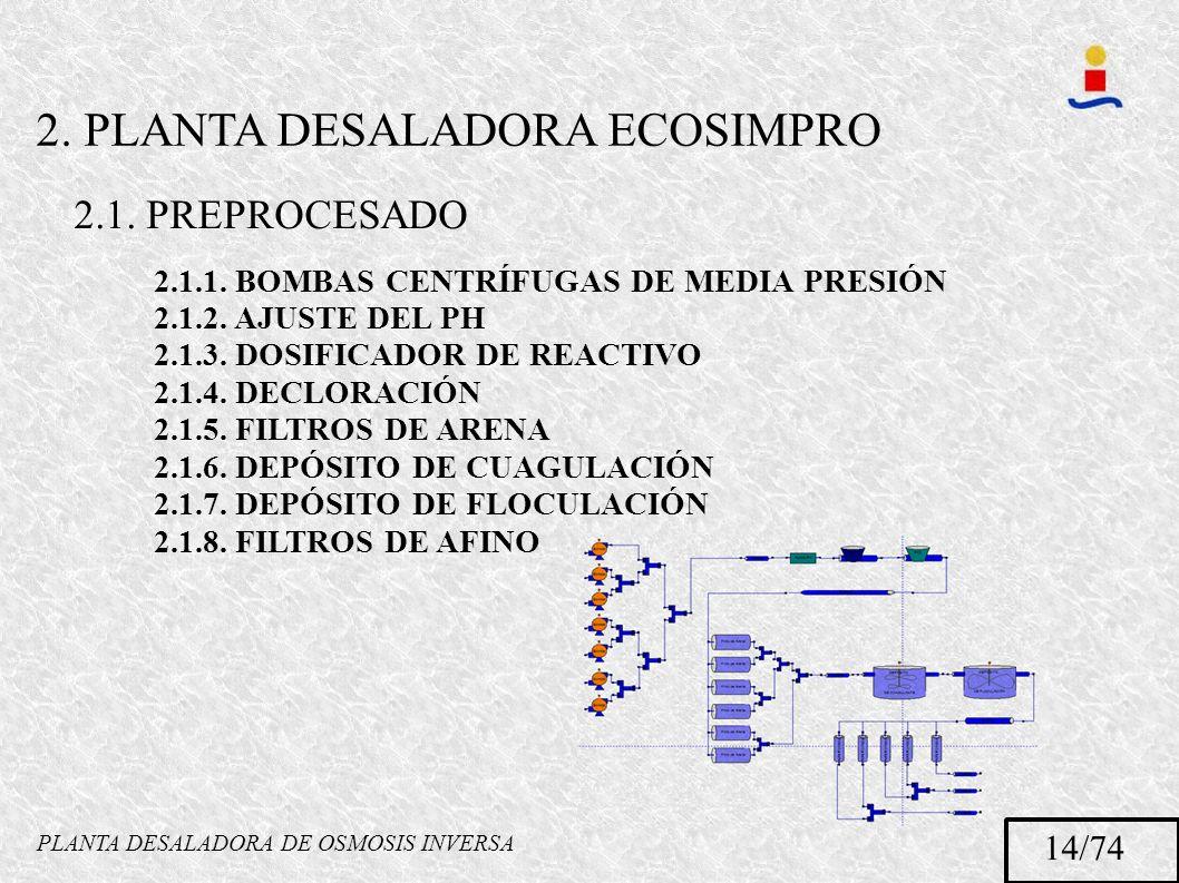 PLANTA DESALADORA DE OSMOSIS INVERSA 14/74 2.1.1. BOMBAS CENTRÍFUGAS DE MEDIA PRESIÓN 2.1.2. AJUSTE DEL PH 2.1.3. DOSIFICADOR DE REACTIVO 2.1.4. DECLO