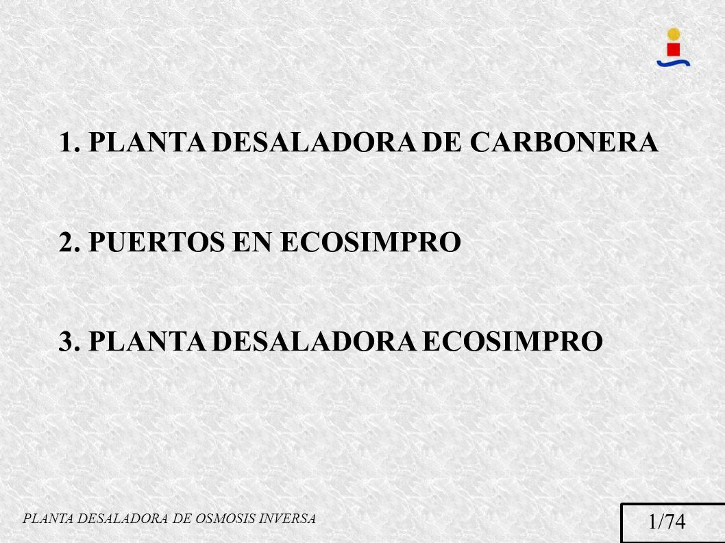 PLANTA DESALADORA DE OSMOSIS INVERSA 1. PLANTA DESALADORA DE CARBONERA 2. PUERTOS EN ECOSIMPRO 3. PLANTA DESALADORA ECOSIMPRO 1/74
