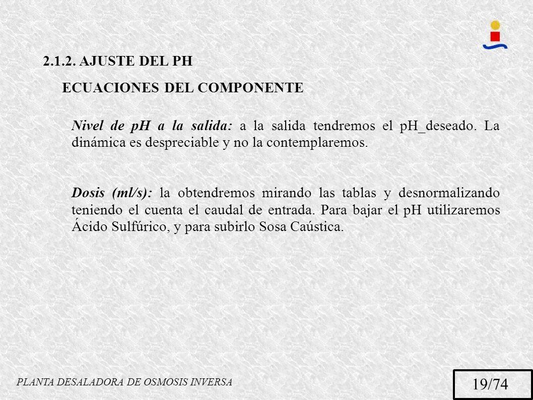 PLANTA DESALADORA DE OSMOSIS INVERSA 19/74 2.1.2. AJUSTE DEL PH ECUACIONES DEL COMPONENTE Nivel de pH a la salida: a la salida tendremos el pH_deseado